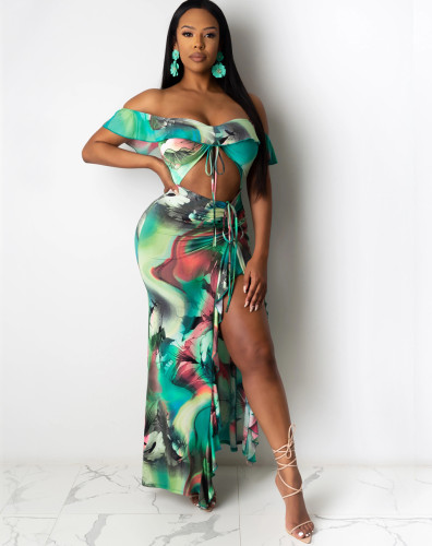 Sexy Tie Dye Ruffle Off Shoulder Cutout Slit Maxi Dress