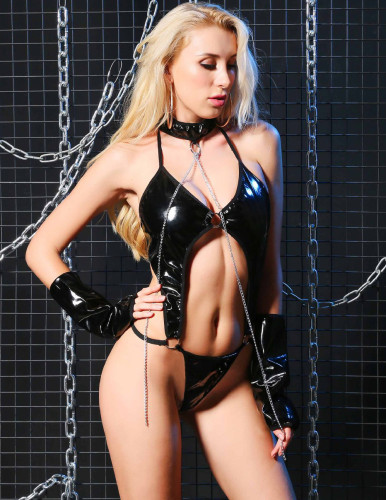 Black Patent PU Leather Sexy Teddies Lingerie with Gloves
