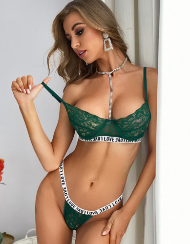 Sexy Lace Bra and Pantie Set with Letter Details