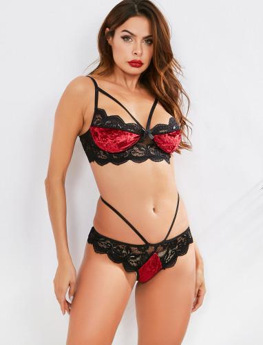 Sexy Lingerie Set Lace Trim Contrast Velvet Bra and Pantie