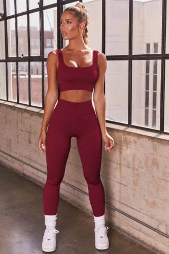 Plain Fitness Cropped Tank and High Waisted Leggings Set