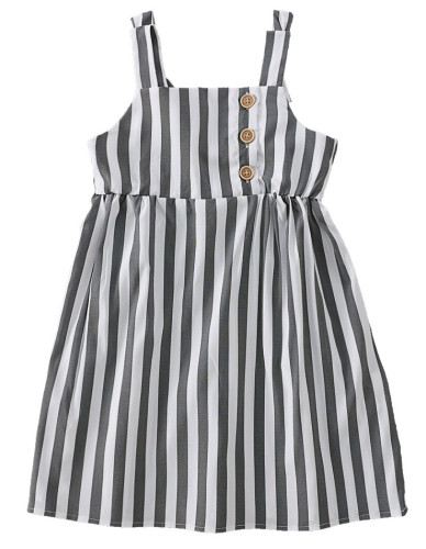 Baby Girl Striped Print Wide Straps Dress