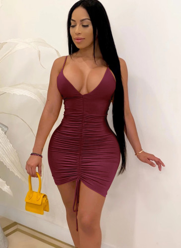 Plain Color Ruched Deep-V Cami Bodycon Dress