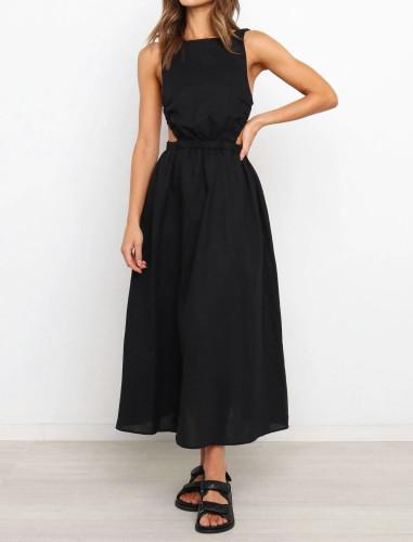 Solid Sleeveless Elastic Waist Long Casual Dress