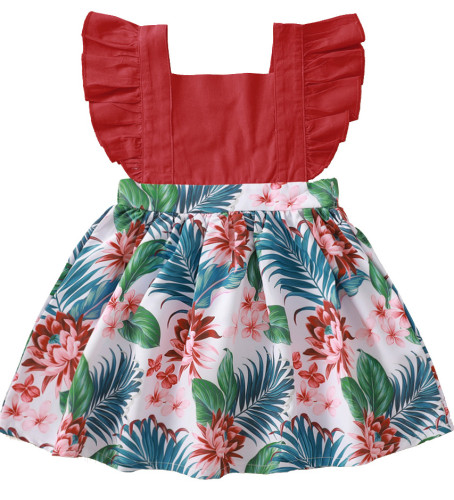 Baby Girl Contrast Floral Print Skater Dress