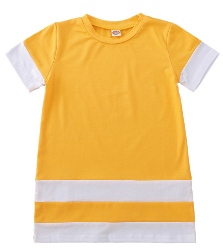 Contrast Splicing Baby Girls' T-Shirt Dress