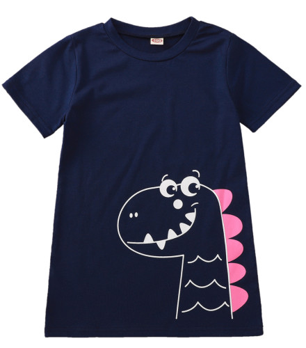 Cute Dinosaur Print Baby Girls' T-Shirt Dress