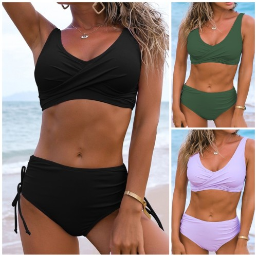 Solid Ruched Drawstrings High Waisted Two Piece Swimwear