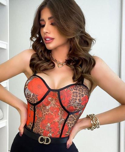 Sexy Floral Leopard Mesh Cami Bodysuit