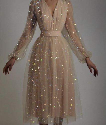 Sequin Deep-V Mesh Sexy Puff Sleeve Prom Dress