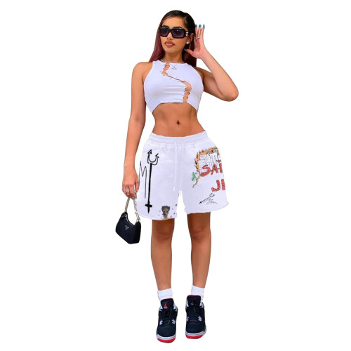 Print White Fashion Leisure Loose Shorts