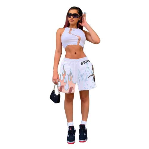 White Print Flame Fashion Leisure Loose Shorts