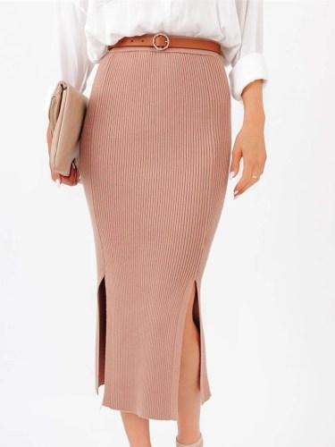 Elegant Side Slit Knitted Midi Skirt