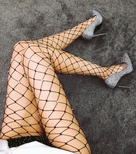 Sexy Black Fishnet Rhinestone Stocking