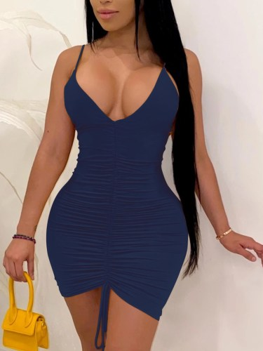 Solid Deep-V Sexy Ruched Cami Bodycon Dress