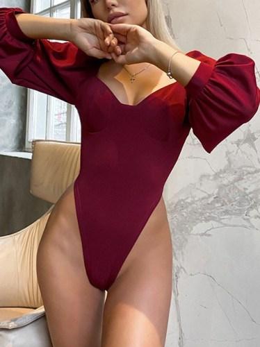 Sexy Solid High Leg Lantern Sleeve Bodysuit