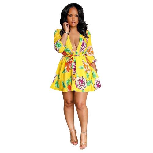 Floral Yellow Print Plunge Tie Waist Skater Dress