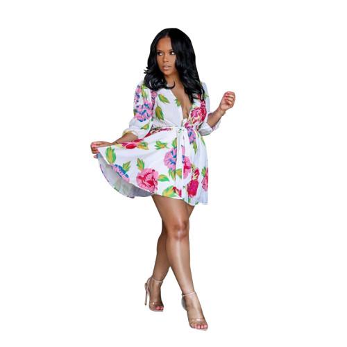 Floral White Print Plunge Tie Waist Skater Dress