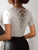 White Hollow Out Lace Back Top