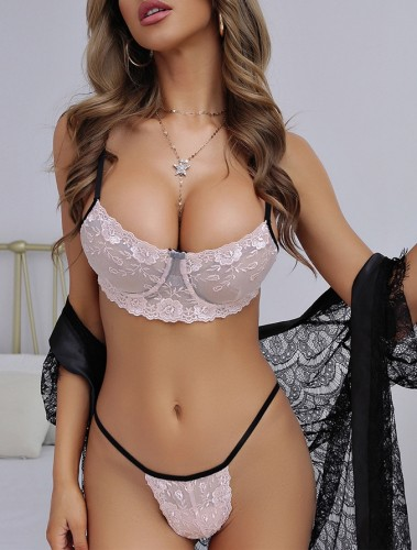 Contrast Lace Bra and Thong Pantie Sexy Lingerie Set