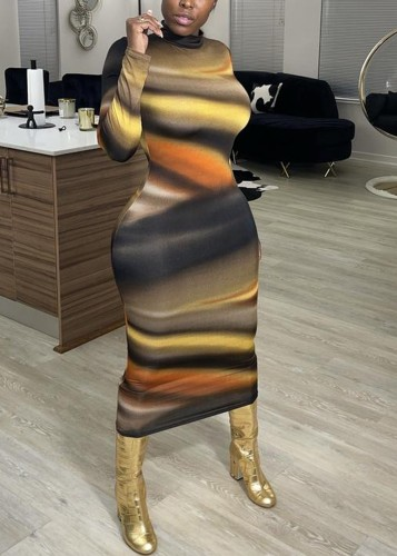 Colorful Gradient Long Sleeve Long Curvy Dress