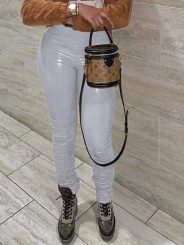 Strechy Patent PU Leather Fashion Tight Stack Pants