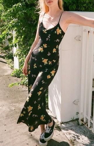 Black Floral Print Cami Maxi Dress