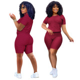 Burgundy Short Sleeve Textured Tee and Shorts Set