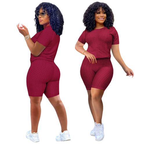 Burgundy Short Sleeve Textured Tee and Shorts Set