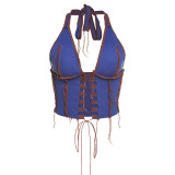 Blue Lace Up Halter Club Top