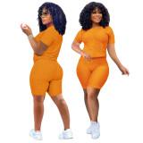 Orange Short Sleeve Textured Tee and Shorts Set