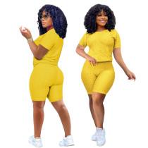 Yellow Short Sleeve Textured Tee and Shorts Set