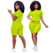 Neon Green Short Sleeve Textured Tee and Shorts Set