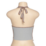 Gray Lace Up Halter Club Top