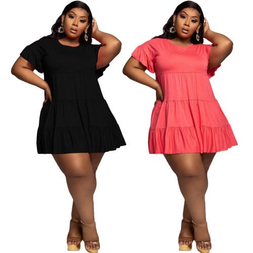 Plus Size Short Sleeve A Line Loose Short Dress
