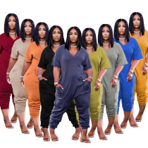 Plus Size Solid Casual Loose Jumpsuit