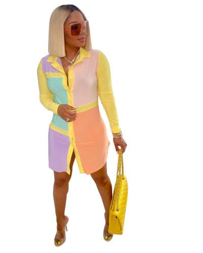 Colorblock Yellow Collor Button Blouse Dress