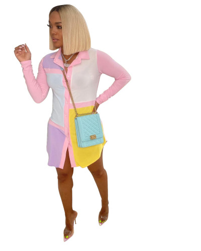 Colorblock Pink Collor Button Blouse Dress