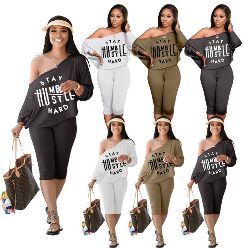 Letter Graphic Two Piece Matching Shorts Set