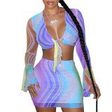 Colorful Tie Front Sexy Mesh Crop Top & Mini Skirt Set