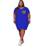 Plus Size Casual Dress with Contrast Pocket