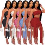 Sexy See Through Mesh Hlater Crop Top & Strings Mini Skirt Set