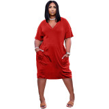 Solid V Neck Loose Casual Dress