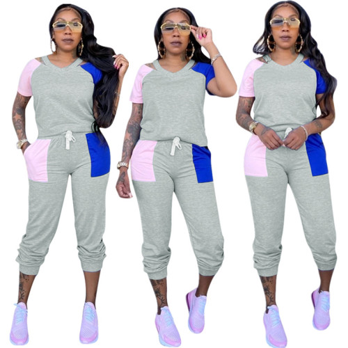 Gray V Neck Casual Two Piece Pants Set with Contrast Patch