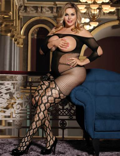 Plus Size Sexy Fishnet Open Up Black Off Shoulder Bodystocking