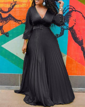 Black V Neck Sexy Pleated Maxi Dress