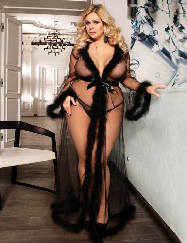 Plus Size See Through Sexy Night Robes With Fur