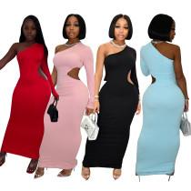 Solid One Shoulder Cutout Curvy Maxi Dress