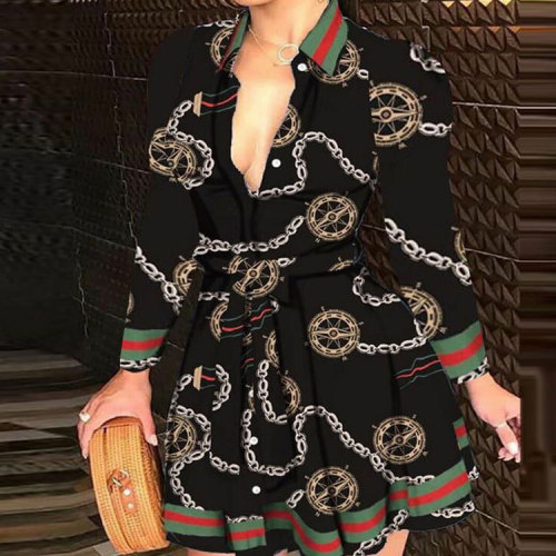 Black and Gold Print Long Sleeve Collar Skater Dress