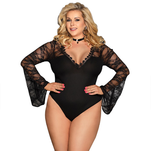 Plus Size Lace Trim Bell Sleeve Teddy